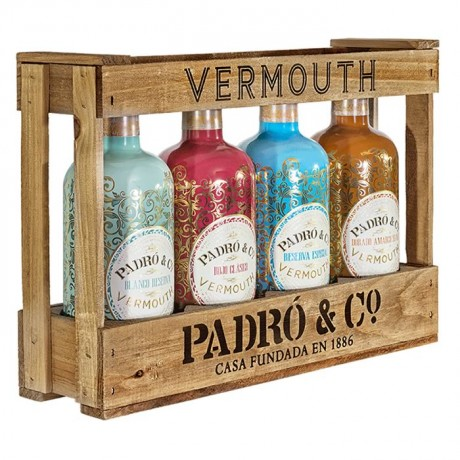 Caja madera Vermut Padró & Co (4bot.)